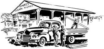 Pickup Truck And Lumber Yard Royalty Free Stock Photo