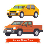 Pickup truck and middle sized sedan in 3d Stock Photo