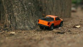 Pickup truck off-road driving. Radio controlled toy car
