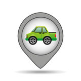 Pickup truck pin map graphic Royalty Free Stock Photography