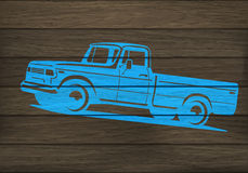 Pickup truck silhouette on wood Royalty Free Stock Photos