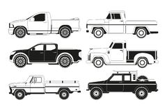Pickup truck silhouettes. Black pictures of various automobiles vector illustration