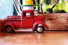 pickup truck toy on wooden board Royalty Free Stock Image
