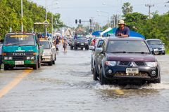 Pickup truck transporting flood victims Stock Photography