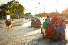 Pickup truck transporting flood victims Stock Images