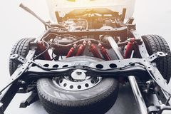 Pickup truck underbody vehicle car chassis. With spare tire clean new Stock Photo