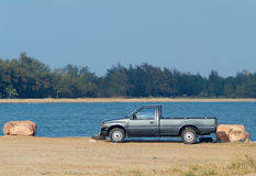 Pickup truck at the waterfront Royalty Free Stock Photography