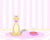 Picky Cat Refusing to Eat. Vector Illustration of a picky cat turning up it's nose at a bowl of food Royalty Free Stock Photo