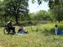 picnic αναπηρική καρέκλα στοκ εικόνα