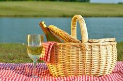 picnic γυαλιού καλαθιών κρασί Στοκ Εικόνες