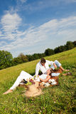 picnic λιβαδιών ζευγών ευτυχέ&s στοκ φωτογραφίες με δικαίωμα ελεύθερης χρήσης