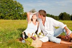 picnic λιβαδιών ζευγών ευτυχέ&s στοκ εικόνες