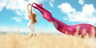 picnic πεδίων ευτυχής γυναίκα σίτου Στοκ εικόνα με δικαίωμα ελεύθερης χρήσης