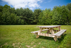 Picnic. A wooden picnic table in an open green space with trees and a beautiful blue sky Stock Image