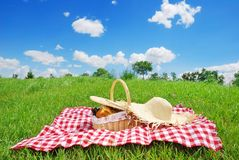 Picnic. Settings on green meadow Royalty Free Stock Photo