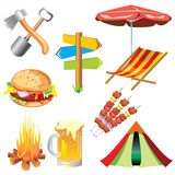 Picnic. Set of images of the picnic theme vector illustration