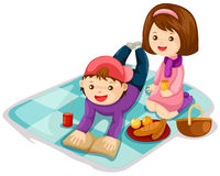 Picnic. Illustration of isolated cartoon picnic on white background stock illustration