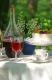 Picnic. Table with wine, cake and tea Stock Photos