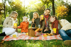 Picnic. In Autumn park.Happy Big Family outdoors Royalty Free Stock Photography