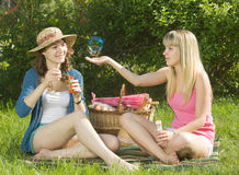 Picnic. Nature. Picnic, bubbles and two girls Royalty Free Stock Photography