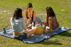 Picnic. Girls  enjoying a classic  picnic  in a scenic setting Stock Image
