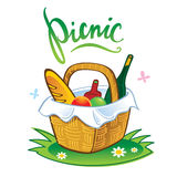 Picnic. Barbecue summer leisure vacations food in straw basket stock illustration