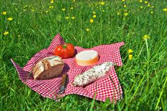 Picnic. Outdoor meal, picinic in landscape Royalty Free Stock Image