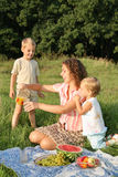 On picnic. Mother with children on picnic Stock Images