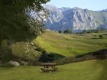Picnic. Resting area at the Picos de Europa,Spain royalty free stock photography