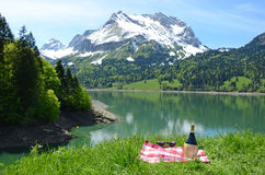 Picnic in Alpine meadow Stock Image