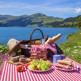Picnic in alpine mountains Stock Photos