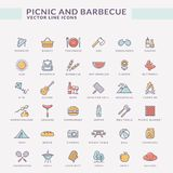 Picnic And Barbecue Colored Outline Icons. Royalty Free Stock Photos