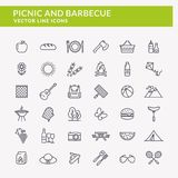Picnic And Barbecue Line Icons. Royalty Free Stock Images
