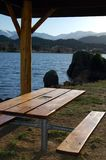 Picnic Area. A picnic area at the side of a mountain lake Stock Photos
