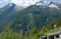 Picnic area along the Gerlos pass in Austria Royalty Free Stock Photo