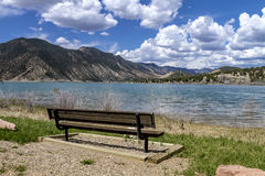 Picnic Area and Bench on Lake Stock Image