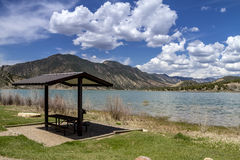 Picnic Area and Bench on Lake Royalty Free Stock Photo