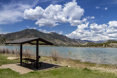 Picnic Area and Bench on Lake Royalty Free Stock Images