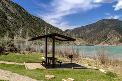 Picnic Area and Bench on Lake Royalty Free Stock Image