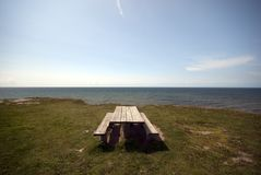 Picnic area close to cliff and beach Royalty Free Stock Photos