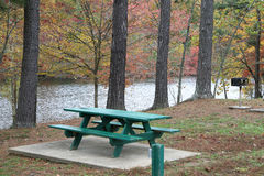 Picnic area in a fall setting Stock Photo