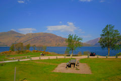 Picnic area Loch Eil Scotland uk in Scottish Highlands west of Kinlochleven and just off A82 south west of Fort William Royalty Free Stock Photo