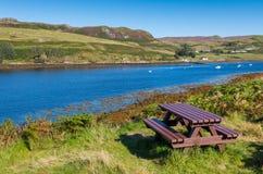 Picnic area at Loch Harport Stock Photo