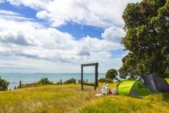 Picnic Area at Long Bay Beach Auckland New Zealand; Regional Park Stock Photo