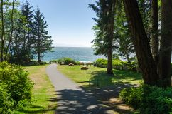 Picnic Area Overlooking the Ocean on a Clear Summer Day Royalty Free Stock Image