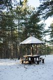 Picnic area with table in the woods in the snow Stock Image