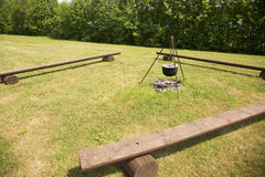 Picnic area with wooden benchs Stock Photos