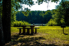 Picnic area at woods ferry park in south carolina Stock Photo