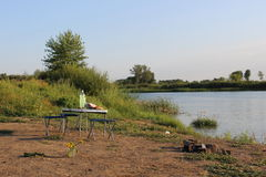Picnic away from the big city. A picnic near the river Ishim Royalty Free Stock Photos