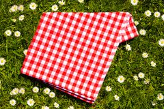 Picnic background. Red checkered picnic cloth on a daisy meadow. Top. Picnic background. Red checkered picnic cloth on a daisy meadow. Topview royalty free stock image